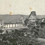 Resti dell'antico castello di Pietrarossa, con il contiguo convento e la chiesa di Santa Maria degli Angeli (xilografia di Giuseppe Barberis, 1892)